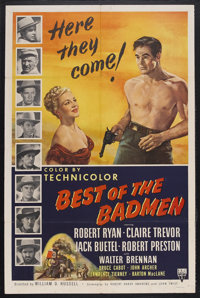 "Best of the Badmen (RKO, 1950). One Sheet (27"" X 41""). Western. Starring Robert Ryan, Claire Trevor, Jack Buet..."