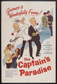 "The Captain's Paradise (United Artists, 1953). One Sheet (27"" X 41""). Romantic Comedy. Starring Alec Guinness..."