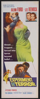 "Experiment in Terror (Columbia, 1962). Insert (14"" X 36""). Crime Thriller. Starring Glenn Ford, Lee Remick, St..."