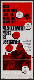 "Movie Posters:Horror, Frankenstein Must Be Destroyed (Warner Brothers, 1970). Insert (14"" X 36""). Horror. Starring Peter Cushing, Veronica Carlson..."