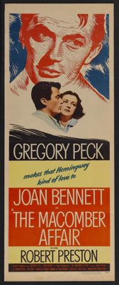 "The Macomber Affair (United Artists, 1947). Insert (14"" X 36""). Adventure. Starring Gregory Peck, Joan Bennett..."