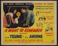 "A Night to Remember (Columbia, 1942). Half Sheet (22"" X 28""). Mystery. Starring Loretta Young, Brian Aherne, J..."