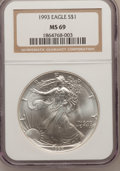 Modern Bullion Coins: , 1993 $1 Silver Eagle MS69 NGC. NGC Census: (85429/117). PCGSPopulation (3266/0). Mintage: 6,763,762. Numismedia Wsl. Price...