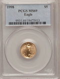 Modern Bullion Coins: , 1998 G$5 Tenth-Ounce Gold Eagle MS69 PCGS. PCGS Population(3170/107). NGC Census: (4668/1571). Numismedia Wsl. Price for ...