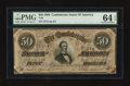 Confederate Notes:1864 Issues, T66 $50 1864 PF-10.. ...
