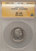 Coins of Hawaii, 1883 25C Hawaii Quarter--Cleaned--ANACS. XF45 Details. NGC Census:(20/895). PCGS Population (83/1376). Mintage: 500,000. ...