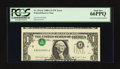 Error Notes:Inverted Third Printings, Fr. 1916-F $1 1988A Federal Reserve Note. PCGS Gem New 66PPQ.. ...