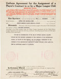 Autographs:Others, 1935 Eddie Collins (as Red Sox President) Signed Contract....
