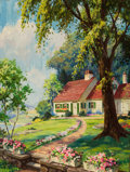 Mainstream Illustration, HY (HENRY) HINTERMEISTER (American, 1897-1972). Cottage in theSpringtime. Oil on canvas. 32 x 24 in.. Signed lower left...