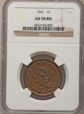 Large Cents: , 1841 1C AU58 NGC. NGC Census: (14/54). PCGS Population (8/29).Mintage: 1,597,367. Numismedia Wsl. Price for problem free N...