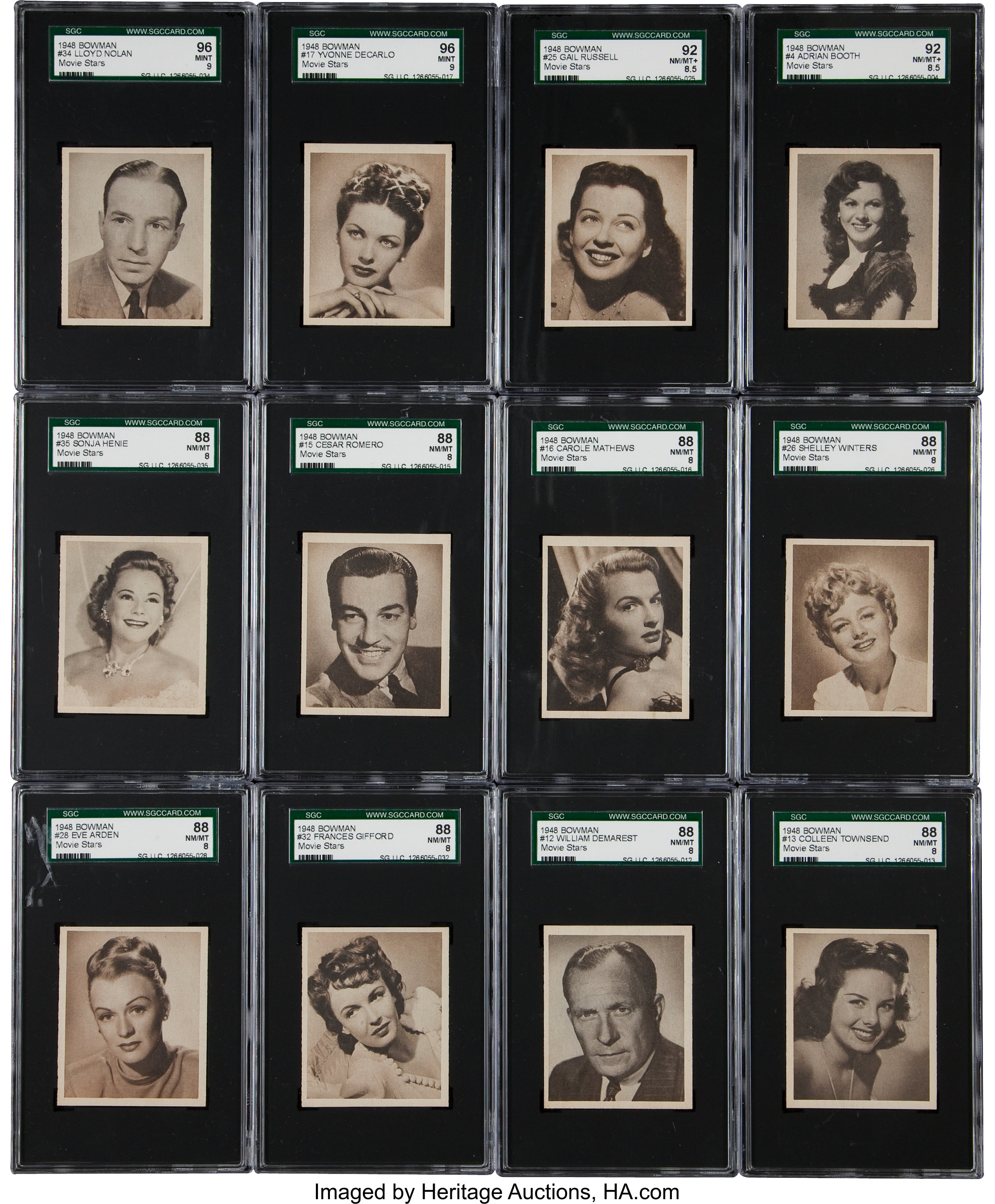 1948 Bowman Movie Stars Complete Set 36 1 On The Sgc Set