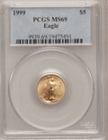 Modern Bullion Coins: , 1999 G$5 Tenth-Ounce Gold Eagle MS69 PCGS. PCGS Population(5548/126). NGC Census: (6845/858). Numismedia Wsl. Price for p...