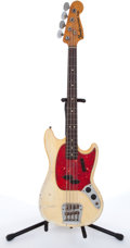 Musical Instruments:Bass Guitars, 1967 Fender Mustang Olympic White Electric Bass Guitar# 197253....