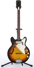 Musical Instruments:Electric Guitars, Late 1960s Harmony H22 Sunburst Electric Bass Guitar #5471H22-1....