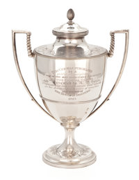 MALCOLM S. FORBES COLLECTION: GEORGE III SILVER AND SILVER GILT TWO-HANDLED PRESENTATION CUP AND COVER John Scof
