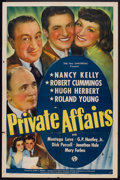"Movie Posters:Romance, Private Affairs (Universal, 1940). One Sheet (27"" X 41""). Romance....."