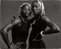Photographs:Contemporary, ANNIE LEIBOVITZ (American, b. 1949). Serena and VenusWilliams, 1998. Gelatin silver, 1998. 13 x 16 inches (33.0 x40.6 ...