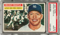 Baseball Cards:Singles (1950-1959), 1956 Topps Mickey Mantle, Gray Stock #135 PSA Mint 9....