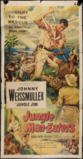 "Movie Posters:Adventure, Jungle Man-Eaters (Columbia, 1954). Three Sheet (41"" X 81"").Adventure.. ..."