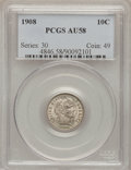 Barber Dimes: , 1908 10C AU58 PCGS. PCGS Population (25/290). NGC Census: (8/242).Mintage: 10,600,545. Numismedia Wsl. Price for problem f...