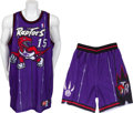 Basketball Collectibles:Uniforms, 1998-99 Vince Carter Game Worn Toronto Raptors Jersey andShorts....