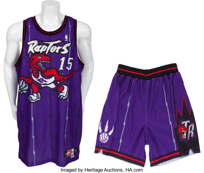 fba3fe57bfb ... Basketball Collectibles:Uniforms, 1998-99 Vince Carter Game Worn  Toronto Raptors Jersey andShorts ...