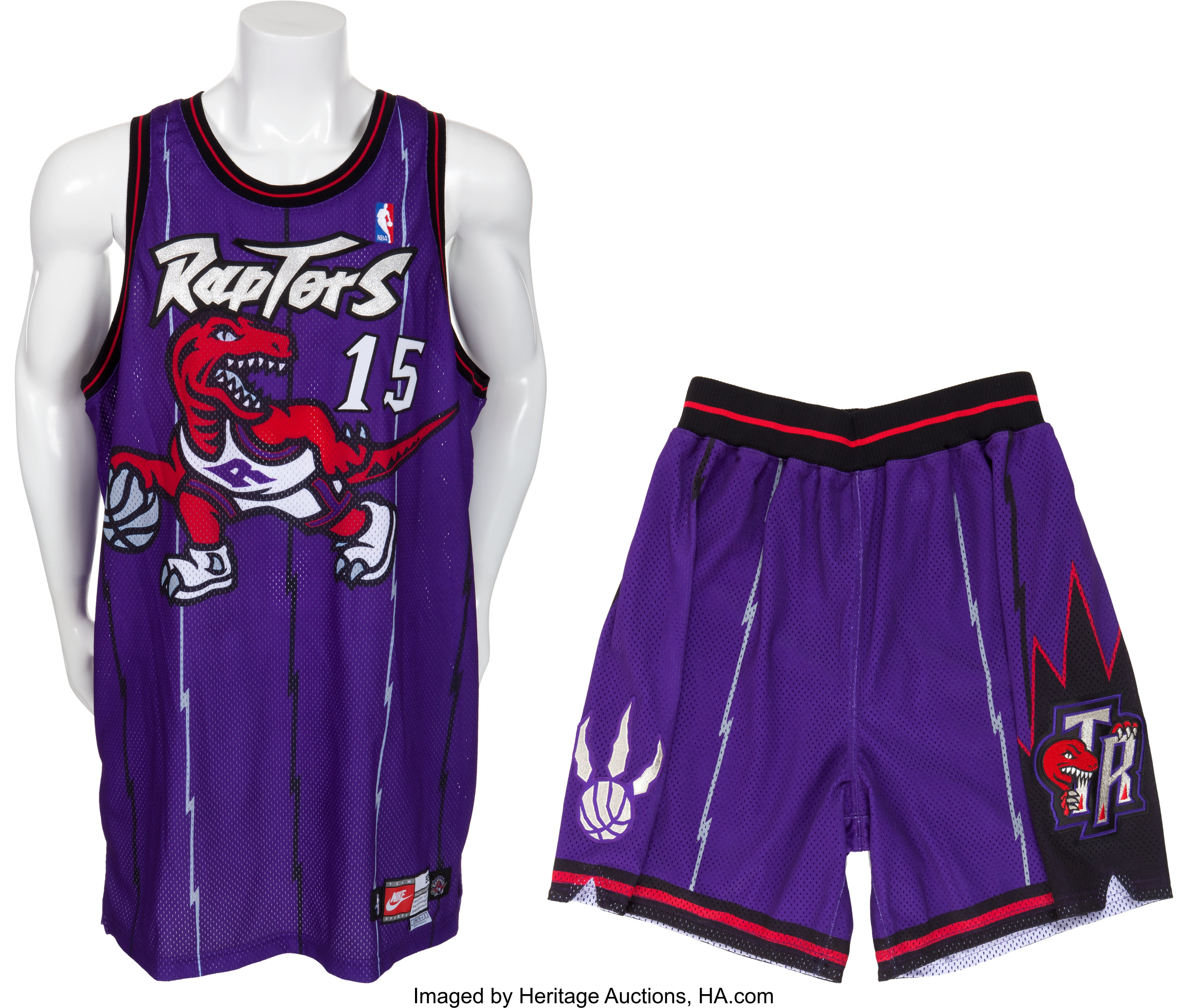 online store 2fc68 9a9cf 1998-99 Vince Carter Game Worn Toronto Raptors Jersey and ...