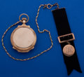Timepieces:Pocket (post 1900), Illinois Gold 18 Size Box Hinge Transitional Movement Pocket WatchWith Chain & Fob. ...