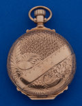 Timepieces:Pocket (post 1900), Elgin 14k Gold Fancy Dial 6 Size Box Hinged Pocket Watch. ...