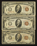 Small Size:World War II Emergency Notes, Fr. 2303 $10 1934A Hawaii Federal Reserve Notes. Three Examples. Very Good-Fine or Better.. ... (Total: 3 notes)