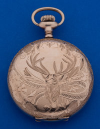 Waltham 16 Size Hunter's Case With Deer Pocket Watch