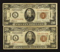 Fr. 2305 $20 1934A Hawaii Federal Reserve Notes. Two Examples. Fine
