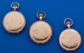Timepieces:Pocket (post 1900), Three Gold Filled 6 Size Hunter's Cases Pocket Watches. ... (Total:3 Items)