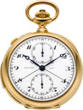 Timepieces:Pocket (post 1900), Patek Philippe Fine Gold Minute Repeater Split Second ChronographWith Register, circa 1908. ...