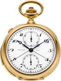 Patek Philippe Fine Gold Minute Repeater Split Second Chronograph With Register, circa 1908