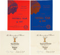 Football Collectibles:Publications, 1955-57 Ray Nitschke University of Illinois Team Signed Banquet Program and Letterman's Certificates Lot (4)....
