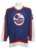 Hockey Collectibles:Uniforms, 1985-86 Perry Turnbull Game Worn Winnipeg Jets Jersey....