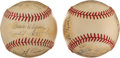 Autographs:Baseballs, Early 1940's WWII Navy Team Signed Baseballs (2) & UnsignedPhotos (2)....