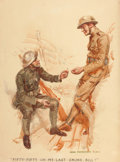 Mainstream Illustration, JAMES MONTGOMERY FLAGG (American, 1877-1960). Fifty-Fifty on MyLast Smoke, Bill!. Watercolor and pencil on paper. 25.75...