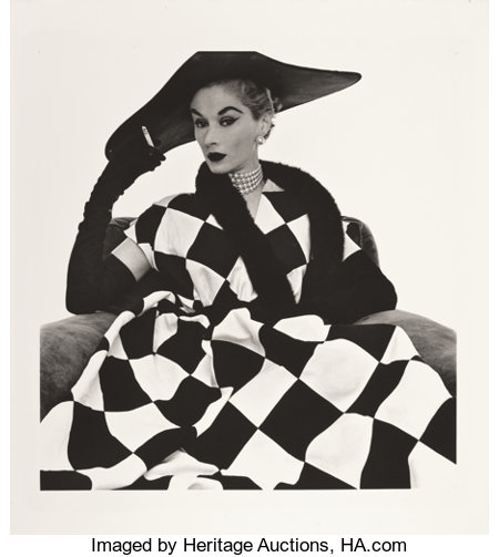 IRVING PENN (American, 1917-2009)Harlequin Dress, Lisa Fonssagrives-Penn, 1950Platinum-palladium, 197920-3/4 x 19 ...