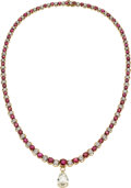 Estate Jewelry:Necklaces, Diamond, Burma Ruby, Gold Necklace, Oscar Heyman. ...