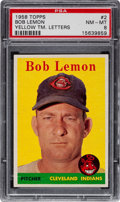 Baseball Cards:Singles (1950-1959), 1958 Topps Bob Lemon, Yellow letters #2 PSA NM-MT 8....
