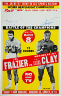 Boxing Collectibles:Memorabilia, 1971 Muhammad Ali vs. Joe Frazier Closed-Circuit Poster Signed by Both....