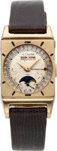 Timepieces:Wristwatch, LeCoultre Triple Calendar With Moon Phase, circa 1940's. ...