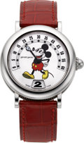 Timepieces:Wristwatch, Gerald Genta Automatic Jump Hour Retrograde Mickey Mouse Watch. ...