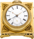 Timepieces:Pocket (post 1900), Harvey & Co. Rare Patent Table Alarm Base With Gold Lever Fusee, circa 1850. ...