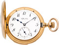 Timepieces:Pocket (post 1900), Tiffany & Co. 18k Gold Five Minute Repeating Demi-Hunter, circa1893. ...