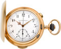 Timepieces:Pocket (post 1900), Tavannes 14k Gold Quarter Hour Repeater With Chronograph, circa1910. ...