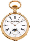 Timepieces:Pocket (post 1900), Swiss 18k Gold Triple Digital Calendar Watch With Moon Phase, circa1895. ...