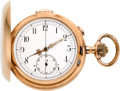 Timepieces:Pocket (post 1900), LePhare Gold Minute Repeater With Chronograph, circa 1900. ...